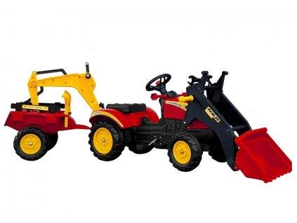 pol pl Traktor z Przyczepa i Lyzka na Pedaly Benson Czerwony 5232 2