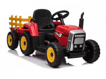 Elektrický traktor s vlečkou červený
