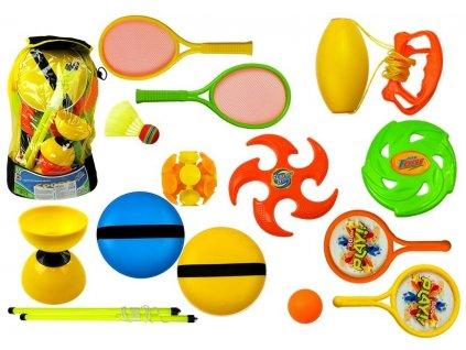 Sportovní sada raketa, frisbee, diabolo