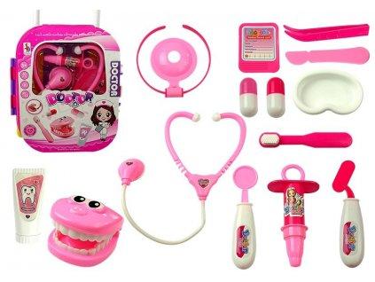 Dětský lékařský kufřík růžový1