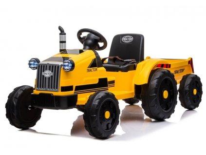 Dětský elektrický traktor s vlečkou T1 žlutý2