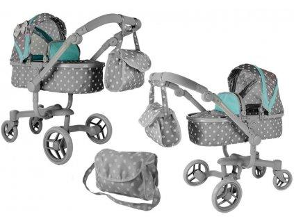 mamido Kočárek pro panenky Alice šedý s puntíky