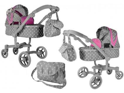 mamido Kočárek pro panenky Alice šedo růžový s puntíky