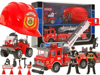 hasičské auto s helmou set (2)