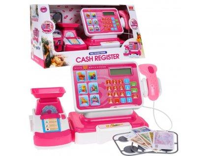 mamido Dětská pokladna s nákupním košíkem a příslušenstvím růžová