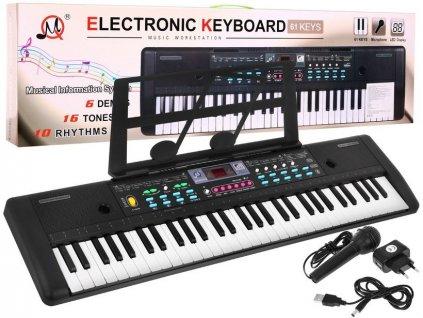 dětský keyboard s mikrofonem černý (2)