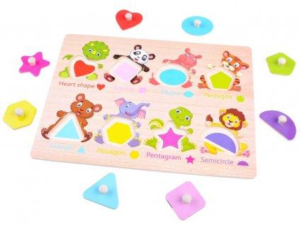 dřevěné puzzle s tvary a zvířátky (1)