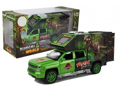 Kempingové auto s dinosaury zelené