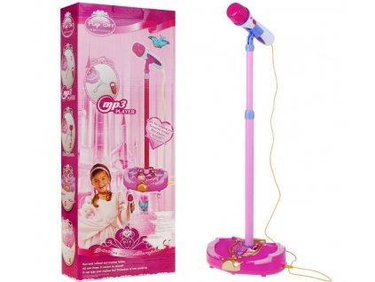 Dětský mikrofon na stativu s melodiemi a vstupem mp3