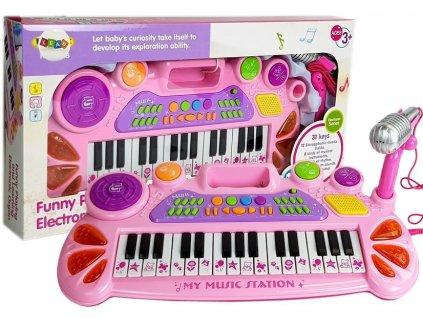 Keyboard s mikrofonem USB růžový