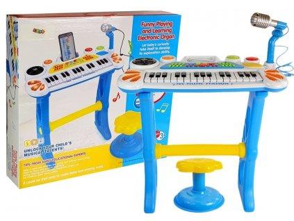 Keyboard s mikrofonem a židličkou USB modrý