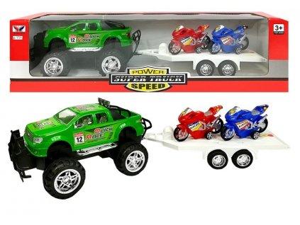 Autíčko s návěsem a 2 motorkami zelené