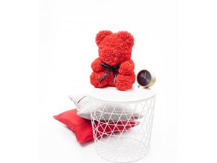 Medvídek z růží červený 40 cm