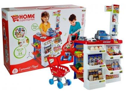 dětský supermarket s nákupním košíkem červený (1)