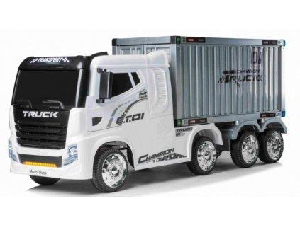 Dětské elektrické autíčko kamion s návěsem bílé