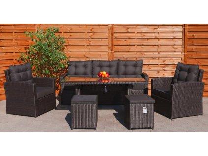Zahradní nábytek ratanový s vysokým stolem hnědý 1
