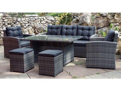 Zahradní nábytek ratanový s vysokým stolem šedý 7