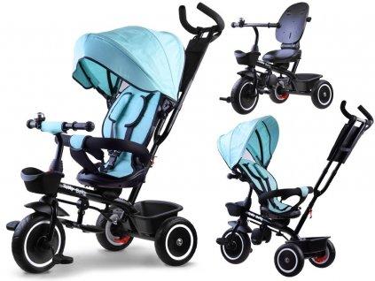 Dětská tříkolka 3v1 se stříškou světle modrá
