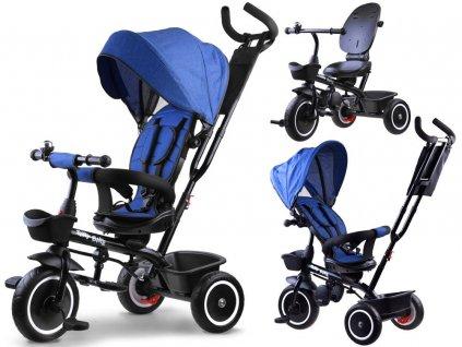 Dětská tříkolka 3v1 se stříškou tmavě modrá