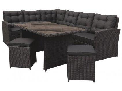 Zahradní nábytek ratanový s velkou sedačkou a stolem hnědý 4