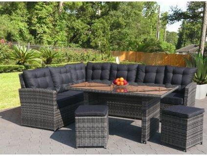 Zahradní nábytek ratanový s velkou sedačkou a stolem šedý 5