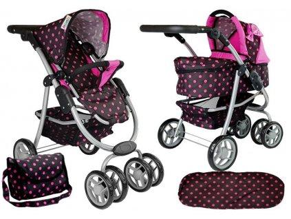 Sportovní kočárek pro panenky 2v1 z taškou černo růžový