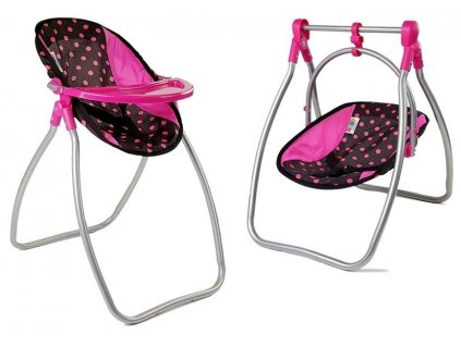 Židlička na krmení a houpačka pro panenky Alice černo růžová