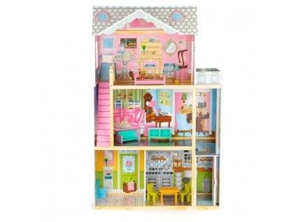 Velký dřevěný domeček pro panenky s výtahem a nábytkem 3