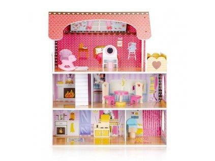 Dřevěný domeček pro panenky s nábytkem a osvětlením 1