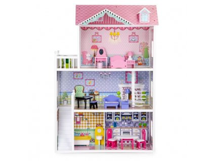Velký dřevěný domeček pro panenky XXL s nábytkem 2