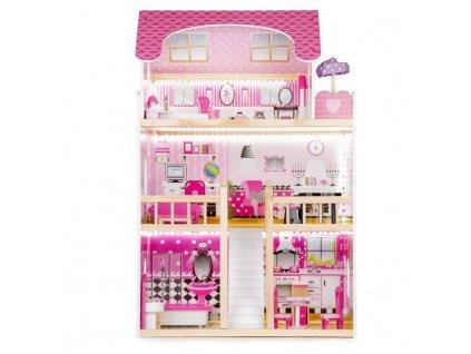 Velký dřevěný domeček pro panenky s nábytkem a osvětlením růžový 2