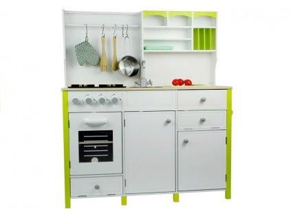 Dětská dřevěná kuchyně s troubou a příslušenstvím zeleno bílá ROZBALENO
