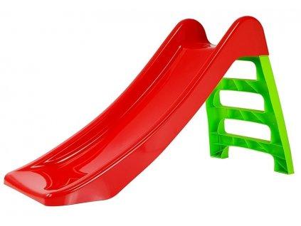 Dětská skluzavka na zahradu červeno zelená