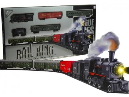 Velká vláčkodráha s parní lokomotivou a světlem + 4 vagony, 156 cm (1)