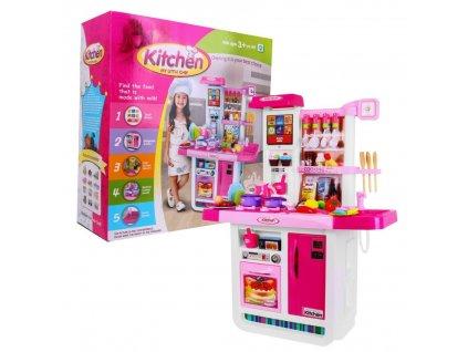 Velká dětská kuchyňka, chladnička, trouba, dřez růžová