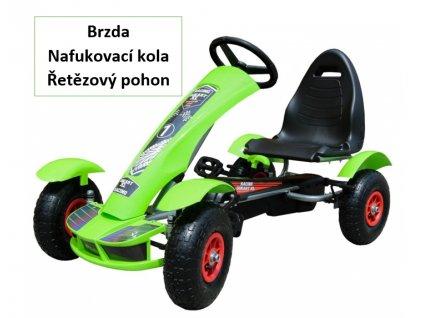 Dětská šlapací motokára formule zelená