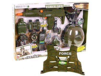 Policejní set pistole + maska + neprůstřelná + vesta zelený 1