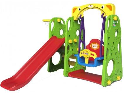 Dětská houpačka+skluzavka+basketbalový koš 3v1 zelená