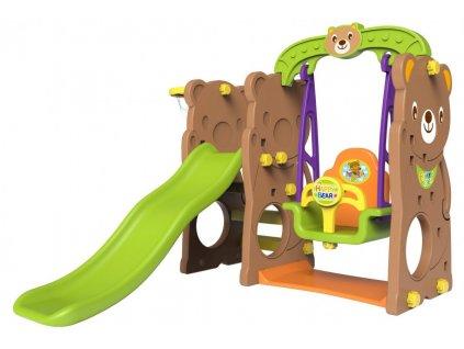 Dětská houpačka+skluzavka+basketbalový koš 3v1 medvěd