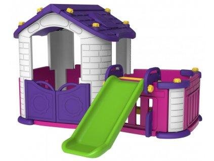 Dětský zahradní domeček se skluzavkou fialový