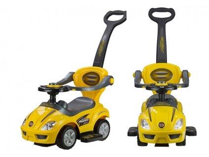 Dětské hrající vozítko 3v1 žluté