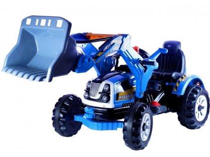 Dětský elektrický traktor s nakládací lžíci 12V modrý