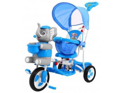 Dětská tříkolka slon se zvukovými efekty modrá