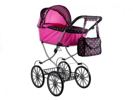 Hluboký retro kočárek pro panenky růžový