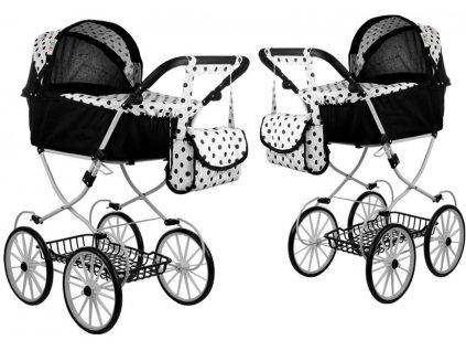 Hluboký retro kočárek pro panenky černý