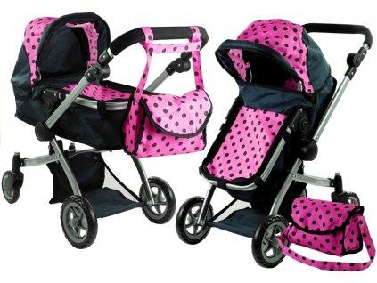 Kočárek pro panenky Alice 2v1 černo-růžový