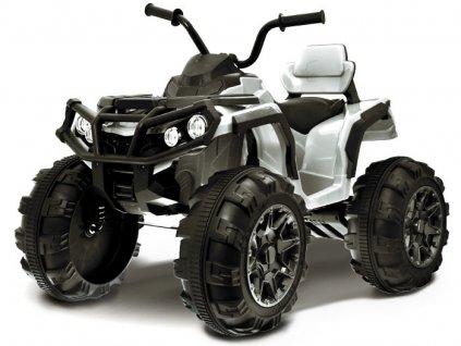 Elektrická čtyřkolka s ovládačem, EVA kola, bílá