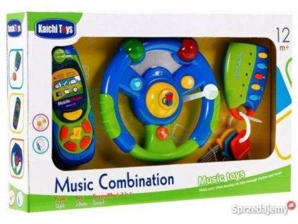 Tří dílna hrací sada pro nejmenší - volant, mobil, klíče modrá