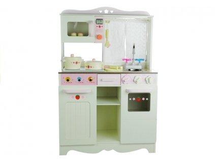 Dětská dřevěná kuchyně s příslušenstvím růžová