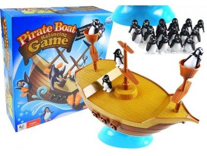 Společenská hra padající tučnáci z pirátské loďi